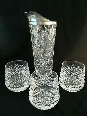 Vintage CUT CRYSTAL GLASS & SILVER PLATE COCKTAIL PITCHER and 3 GLASSES