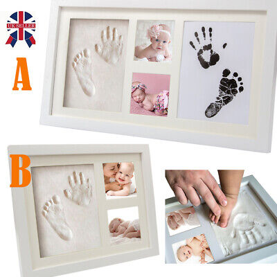 Baby Hand &Foot Print Clay Ink Cast Kit & 2 Photo Picture Frame Christening Gift