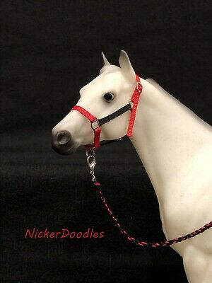 Breyer Traditional size-Stock Halter & Lead Rope-Red/Black