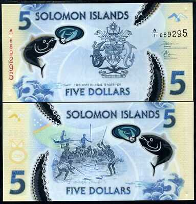 Solomon Islands 5 Dollars Nd 2019 Clear Polymer P New Fish Unc