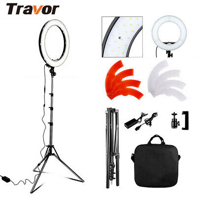 """55W 18"""" Dimmable LED Video Ring Light Kit + Light Stand For Photo Camera UK DPD"""