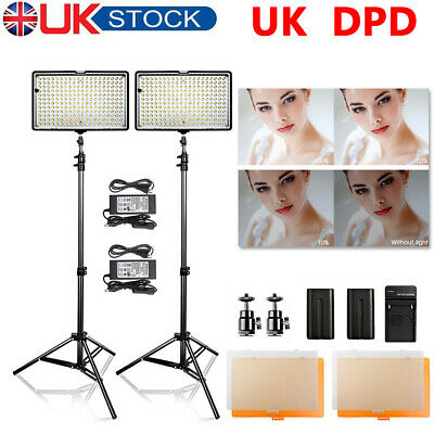 240 LED Video Light  Photography Continuous Studio Lighting Kit + Light Stand UK