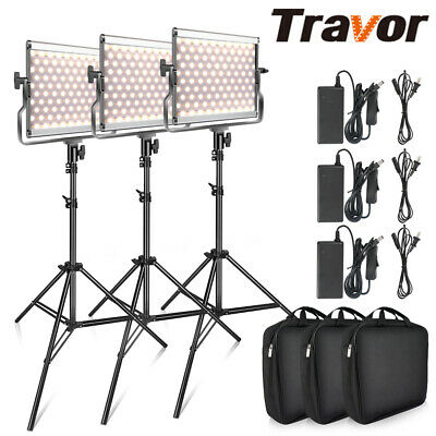 3 PACK Travor Dimmable Bi-color LED Video Light Photography Lighting Stand Kits
