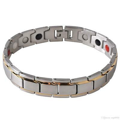 Mens Bio Magnetic Health Bracelet Gold And Silver Bangle Arthritis Pain Relief