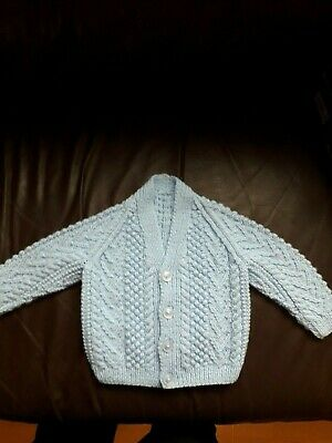 Hand Knitted Aran Style Cardigan In Baby Blue 20""