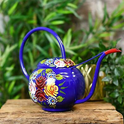 Hand Painted Blue Narrowboat Style Watering Can