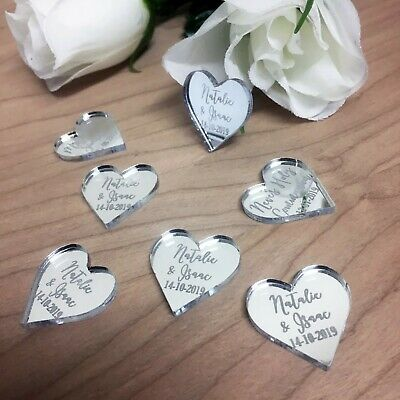 Personalised Mr & Mrs Wedding Table Confetti Engraved Hearts Decorations Favours