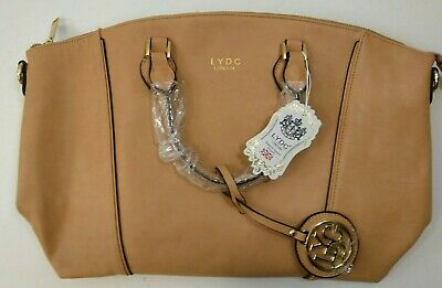 LYDC Apricot Faux Leather Tote Handbag Fashion Accessory Work Travel Pretty BNWT