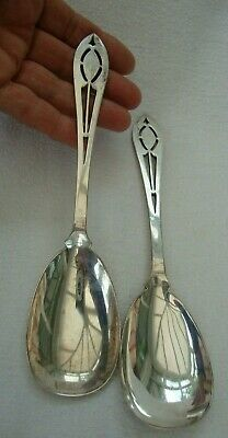 Antique Pair Arts And Crafts Style London Sterling Solid Silver Spoons Maker Ccp