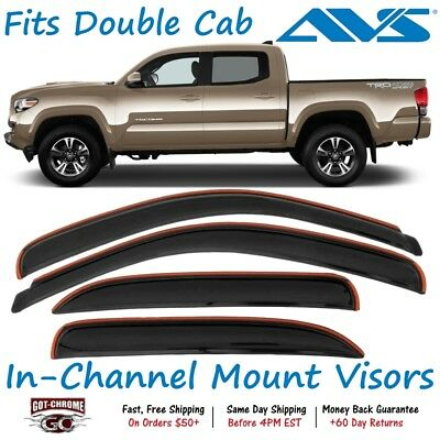 AVS 194768 In-Channel Rain Guards Vent Visor Fits 2016-2019 Tacoma Double Cab