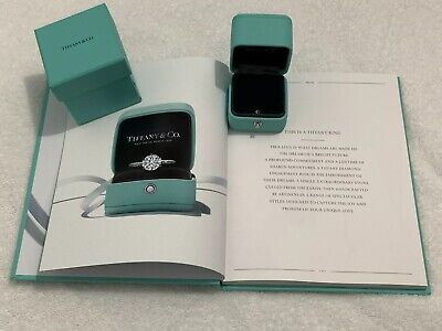 51fd510f5bb Tiffany&Co Blue Leather Presentation Engagement Wedding Ring Box- New With  Book