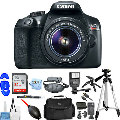 Canon EOS Rebel T6 DSLR with 18-55mm + 32GB + Flash + Extra Battery Bundle