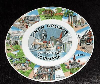 NEW ORLEANS Bourbon Street Souvenir Plate LOUISIANA French Quarter, Cathedral