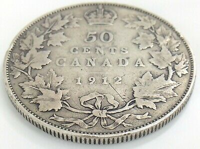 1912 Canada Fifty 50 Cent Half Dollar Silver Circulated George V Coin K038