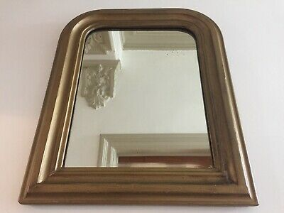 Antique French Louis Philippe Mirror Gold Distressed Original Glass 53x43cm m245