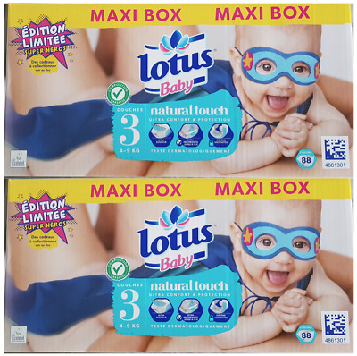 Lot de 176 COUCHES LOTUS Baby Natural Touch  – Taille 3 (4-9 kg)