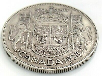 1938 Canada Fifty 50 Cent Half Dollar Silver Circulated George VI Coin K043