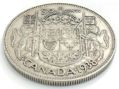 1938 Canada Fifty 50 Cent Half Dollar Silver Circulated George VI Coin K044