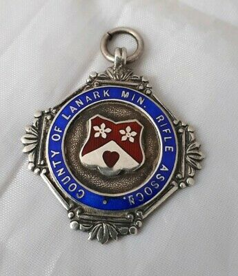 Vintage Sterling Silver Enamel Fob Medal Fattorini & Sons 1932 Rifle Association