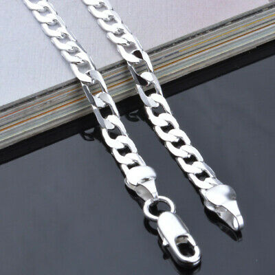 Uk 4Mm Curb 16-24 Inch Chain Necklace Man Lady 925 Sterling Silver Fill