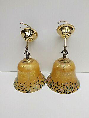 2No Art Nouveau Style  Irridescent Yellow & Mottled Green Ceiling Lights