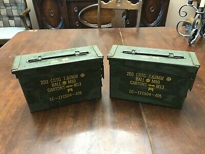 2 Military 30 CAL M19A1 Metal AMMO CANS 7.62mm BOX .30 CALIBER Excellent Conditi