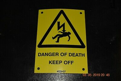 Vintage pylon electricity danger sign
