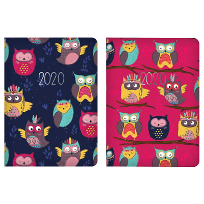 2020 Owl Design Pocket Week To View Diary Tallon Purple Or Pinky Red