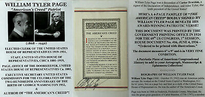 Author American's Creed Clerk House Of Representatives Page Document Signed 1926
