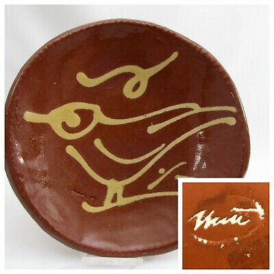 """Red Clay Pottery Folded Dish with Bird Design in Glaze 4.5"""" Diameter SIGNED"""