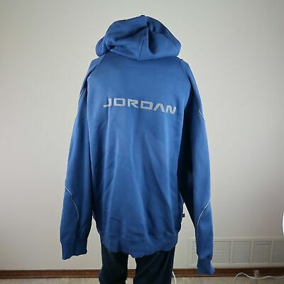 b109b394c09 AIR Jordan Blue Full Zip Drawstring Insulated Stretch Hooded Sweatshirt Mens  2XL