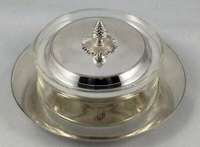 Antique 3 Piece Covered Butter Dish James Dixon Silver Plated Glass Pineapple