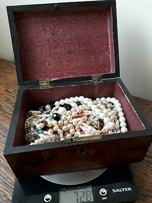 Joblot Vintage Jewelry Mixed Pearl Silver Coral Turquoise Bead Necklaces Old Box