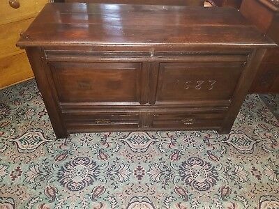 Antique 17th Century Carved Oak Coffer Blanket Box Chest c1720 with Candle Box