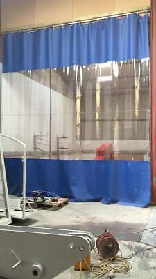Blue & Clear Blue Industrial Workshop Curtains 4.2M High X 4.2M Wide & Track