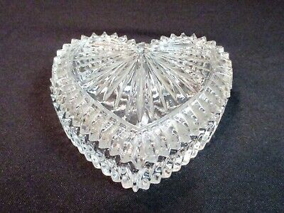 Vintage Lead Crystal Cut Glass Heart Shaped Trinket Jewelry Box with Lid