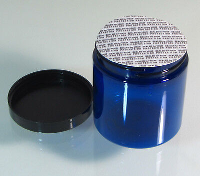 32 Cosmetic Jars Cobalt Blue Beauty Containers Tamper Proof Sealer 8 oz #9338