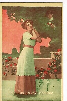 "ANTIQUE ROMANCE Postcard       ""I SEE YOU IN MY DREAMS"""