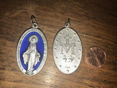 Large Miraculous Medal Necklace Royal Blue Silver Tone Pendant Italy