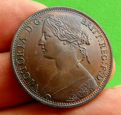 TRACE  LUSTRED  UNC  VICTORIA  * 1861 *  BUN  PENNY  1d ......LUCIDO_8  COINS