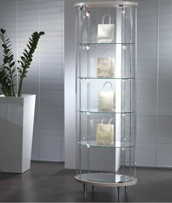 Oval Showcase Display Cabinet with Lights Retail Glass Case Unit UK 64 x 190h cm