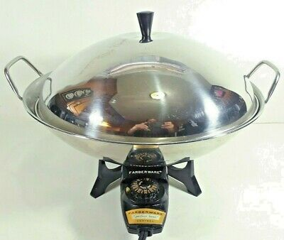 Farberware Electric Wok Model 303 Stainless Steel Adjustable Heat