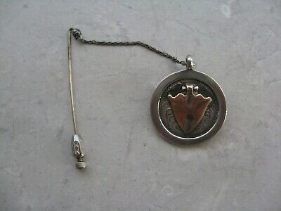 Antique 1930 EUROPEAN Sterling Silver (middle gold plate) Dangle Brooch