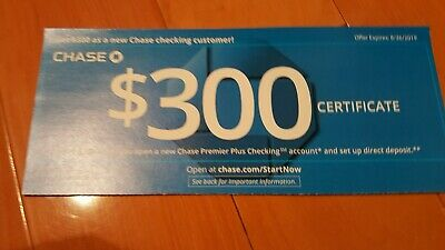 Chase Bank $300 Bonus New Premier Plus Checking Account Code Card Exp 8/26/2019