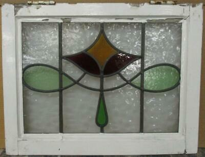 "OLD ENGLISH LEADED STAINED GLASS WINDOW Pretty Abstract Sweep Design 22"" x 17"""