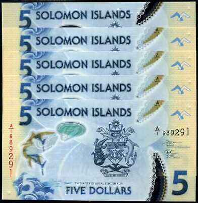 Solomon Islands 5 Dollars Nd 2019 Clear Polymer P New Fish Lot 5 Unc