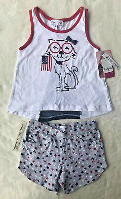 6a01b6c619eb3 Freestyle little girl 2 piece short set USA FLAG PATRIOTIC CAT July 4th  size 5