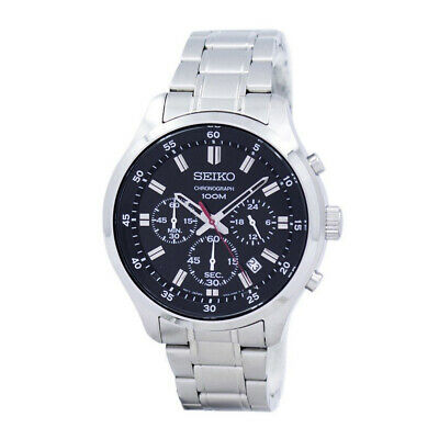 2e91ec1d5 SEIKO QUARTZ CHRONOGRAPH Black Dial Stainless Steel Men's Watch ...