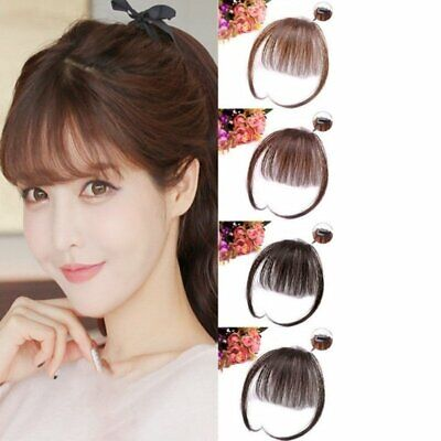 Thin Hair Air Bangs Clip on Temples In Korean Style Fringe Front Hairpiece US