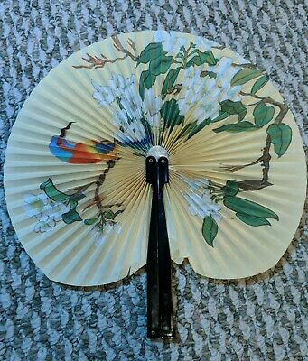Chinese Ornate Birds Hand Folding Fan Fashion - China Rare 1950s Vintage 10""
